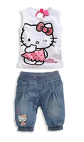 Free shipping,  kids clothes ,girls T shirt+pants, girls clothes set,1set/lot