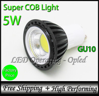 Newest! Black Super COB Spot Light GU10 LED Lamp COB Bulb light 5W, 100% reflecting lighting (Bright but not Concentrated)