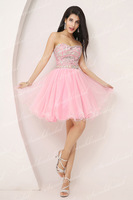 In Stock A-line Sweetheart Strapless Crystal Beaded Tulle Sexy Prom Dresses 2014 New Arrival Elegant Short Homecoming Dresses