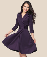 Free shipping 266 # 2014 new women's spring autumn long sleeve Slim  waist plus size blue wine red black dress