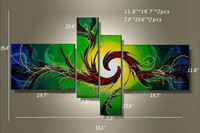 100% Hand-painted Abstract Lines Oil Painting on The wall 4 Panels Canvas Wall Art Set Paintings Home Decoration