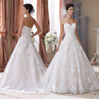 Top Selling Lace Wedding Dresses 2015 A Line Sweetheart Sequin Beads Applique Satin Bridal Gown yk1A316