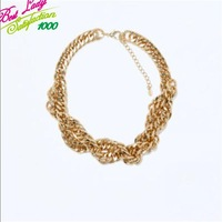 2014 New Arrival ZA Brand Fashion Statement Multi-layer Clain Gold For Women Simple Accesary Collar Good Quality 9060