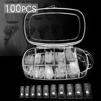 100 PCS Transparent French Nail Tips False Acrylic Nail Art Tips with Box