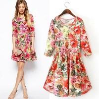 2014 New arrival Ladies' Elegant floral print Dress O-neck half sleeve casual slim dress brand designer evening dresses