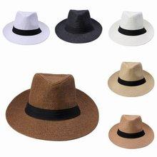 Fashion Summer Casual Unisex Beach Trilby Large Brim Jazz Sun Hat Panama Paper Straw Women Men Cap With Black Ribbon(China (Mainland))