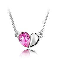 Pure silver female short design pendant austria crystal love heart jewelry chain accessories