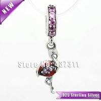 S925 Sterling Silver Orange Flamingo Pendant Bead with Pink Cz Fits European Woman Jewelry Charm Bracelets & Necklaces Pendant