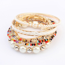 2014 New!!!6PCS/Set Multilayer Bangle Pearl Rhinestone Beaded Leather Bracelet& Bangle Jewelry Best Gift For Woman For Party M16(China (Mainland))