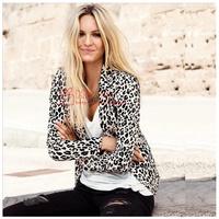 Free shipping 2014 new women leopard blazer jacket brand coat for split decoration in back plus size XS-XXL