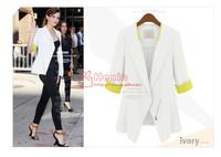 Free shipping Fashion Women Ladies 3/4 Sleeve Chiffon Peplum Slim Fit Casual Zipper Career Top Blazer Jacket Cardigan S M L XL