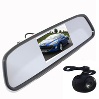 "Rear View Kit 4.3"" Mirror Monitor+ Waterproof Reverse Car Backup Camera"