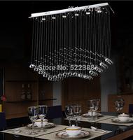 Rectangle Crystal Chandelier Modern Restaurant Lamp K9 Crystal Pendant Lighting Lustres De Cristal Hanging Living Room Lamps
