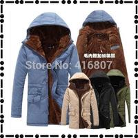 2014 Korean men's cotton coats long sections cultivating cotton padded cotton jacket winter coat plus velvet hooded men