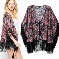 2014 New arrival Ladies' elegant paisley pattern tassel Kimono loose vintage coat cardigan casual outerwear brand designer tops