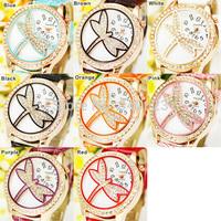 Free Shipping! Hot Newest Stylish Sheet Dragonfly Design Women Girl's Quartz Analog Watches QT8