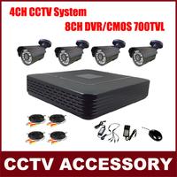 4 Bullet Cameras Color Video Surveillance System CMOS 700TVL IR Camera Kit CCTV 8CH P2P HDMI H. 264 DVR Security System