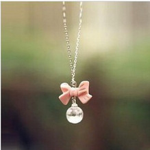N110 Hot 2014 New Style Fashion Super Sweet Pink Bow Ball Droplets Pendants necklaces Jewelry Accessories