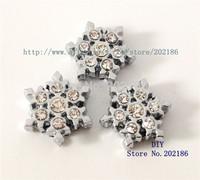 SL209  50pcs Snowflake   Slide Charm Internal Dia.:8mm through 8mm band Pet Dog Cat Tag Collar Wristband key chain
