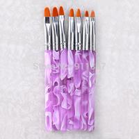 7pcs/Set 7 Sizes Hot Sale Professional UV Gel Painting Draw Brushes Set New Fashion Nail Brush Pink