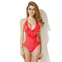 Colloyes 2014 New Sexy RedOne-piece Swimwear with Fringe and Side Cut-outs  Free Shipping