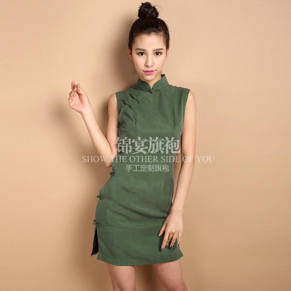 FREE SHIPPING 2014 vintage sleeveless design deep green sand wash cotton manual tailored women cheongsam dresses(China (Mainland))