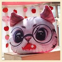 Lifelike Animal Car pillow Case Pink Cat glasses Cotton Cushion Covers Creative Soft Home Pillow Decoration  30*40CM B7660