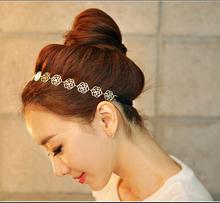 2014 New Arrival coreano Ouro Rose Flor Elasticidade Hairbands / Hair Wear / Headband Para Mulheres E- brilho Jóias TD0007(China (Mainland))