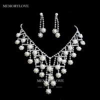 free shipping  luxury bridal crystal with pearl  jewelry set  rhinestone  wedding jewelry set  adjustable  necklace  new arrive