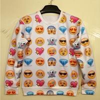 HOT!2014New Women Men love/afraid/happy/sad emoji print Pullover sexy funny 3D/Galaxy Sweatshirts Hoodies jacket sweaters Tops