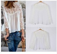European Style casual Autumn & summer new fashion lace blouse chiffon shirt white lace hollow out solid color blusas S/M/L/XL
