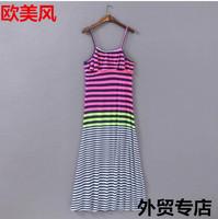 Free Shipping Big size skirts summer women's fresh stripe spaghetti strap one-piece dress elegant sexy fashion tank dress