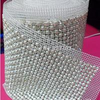 (CM793) 24 Rows 5 Yards Clear Rhinestone Crystal Faux Pearl Mesh Trim Wedding Decoration,Garment Accessories