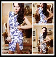 women summer dress New Hot Fashion summer dress 2014 cozy elegant high-slit shoulder pads blue porcelain package hips dress WA