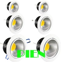 Cob Led Downlight 9W 120 Beam Angle Cool/Warm White Led Fixture Recessed Lamp 85V-265V Free shipping by DHL 30pcs/lot