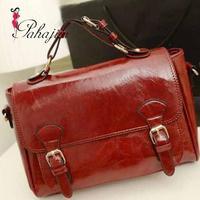 2014 women korean ' spring fashion antique vintage briefcase Wine red cross-body women messenger bag free shipping