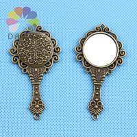 Wholesale 10pcs/lot 66x35mm Antique Bronze Plated Fashion Vintage Metal Small Mirror DIY Accessories Jewelry Pendants