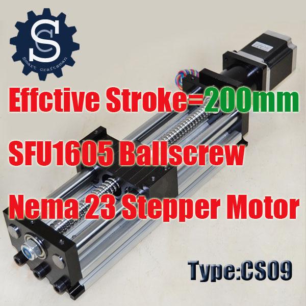 Linear Motion System Travel Length 200mm Linear Slide System Ball Screw SFU1605+Nema23 Stepping Motor 3D177(China (Mainland))