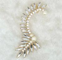 Sparkling  Rhinestone Earcuff Leaf Pattern Earrings Statement Earrings Fashion Jewelry Wholesale BJE99459