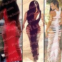 2014 Hot Fashion Sexy Nightclub Shoulder Side Hollow beach Party bandage Dress Halter dress Club Dress 45 Free Shipping