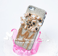 Shinning Pearl Claw Set Silver Swarovski Element Crystal Cellphone Case,Metal Chain Back Case Cover For iPhone 4 4S