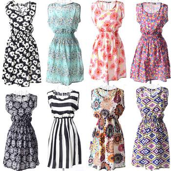 Лёгкое летнее платье из шифона без рукавов и с резинкой на талии.
