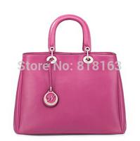 Free Shipping cowhide genuine leather portable handbag rose blue black