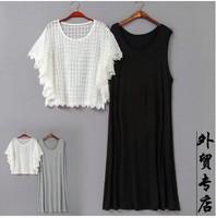 Free shipping Plus size single women's double layer lace dress one-piece dress mm slim fashion dress