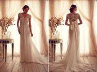 2015 Sexy White v-neck Backless Beads pearls Lace Sheer Vintage Wedding Dresses Garden Church Bridal Gowns