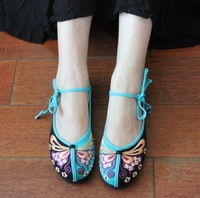 Free shipping 2014 Flower Butterfly Ethnic style Women embroidered shoes Cotton made beijing shoes Melaleuca sole Flat shoe
