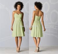 Simple Chffion Bridesmaid Dresses 2014 Sweetheart Pleat Handmade Flower Zipper Knee Length Women Summer Dresses
