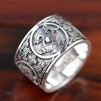 100% real pure 925 sterling silver ring unisex retro silver 925 mythical creatures ring lovers' best gift free shipping SY20384