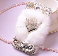 New luxury rhinestone flip leather skin pu bling For Samsung gi9500 diamond genuine rabbit hair fox Case free shipping