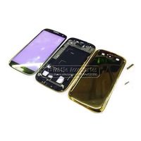 Wholesale Electroplated Plastic Gold Back Housing Middle Frame Bezel Chassis Coverfor Samsung Galaxy S3 i9300 Free Shipping